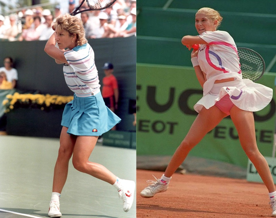 Chris Evert-Lloyd and Monika Seles tennis fashion