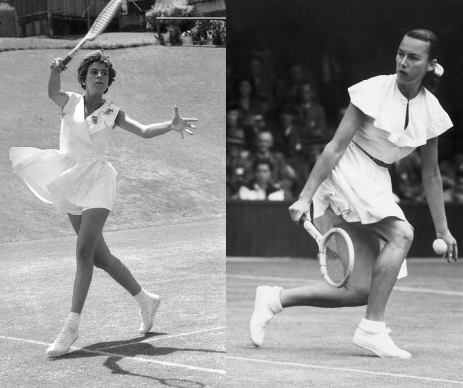 Maria Bueno and Gertrude Mora tennis outfits