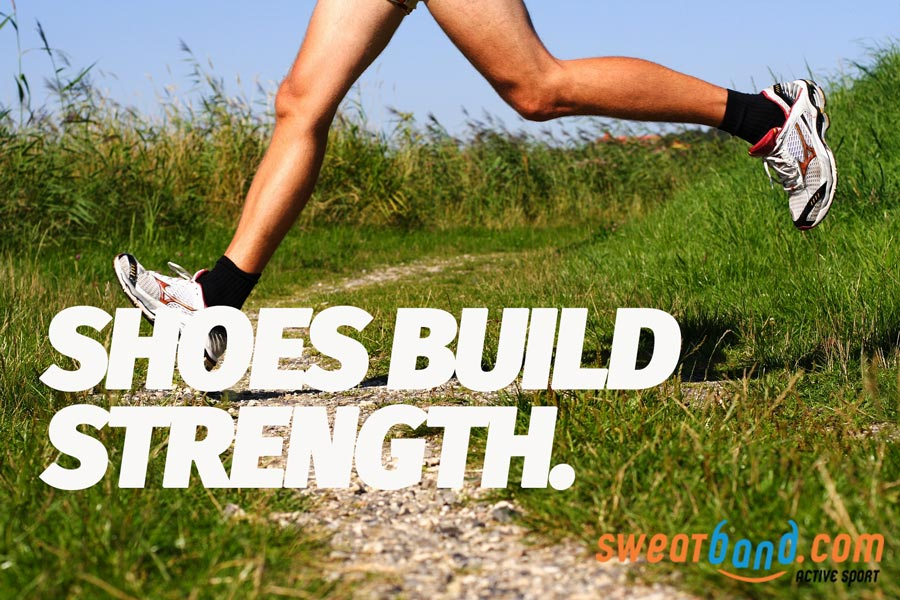 Wearing running shoes can help build muscle strength