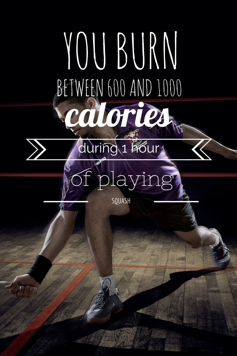 You burn between 600 and 1000 calories during 1 hour of playing squash