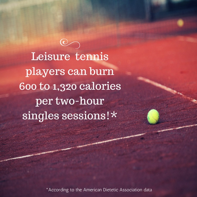 Recreational tennis players burn between 600 and 1320 calories per session